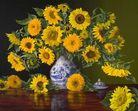 """Sunflowers in a Blue and White Vase"" by Christopher Pierce"